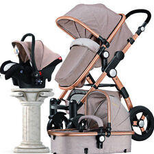Luxury Baby Stroller 3 in 1 with Car Seat For Newborn High View Folding Carriage