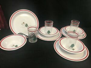 "Lot of 12 Pieces Pottery Barns Kids ""SANTA"" Melamine ~  Plates, Bowls, Cups"