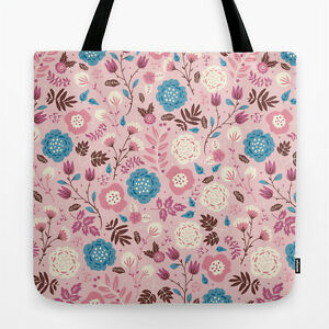 """Floral Poly Poplin Tote Bag - """"Pretty in Pink"""" - 18"""" x 18"""""""