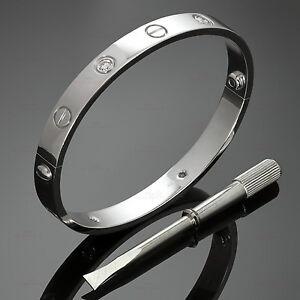 Authentic CARTIER Love 4 Diamond 18k White Gold Bracelet Sz.16