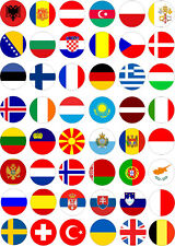 48 European flags Mini Cupcake Toppers Rice Wafer Paper Edible