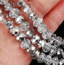 New 6*8mm 70PC Faceted silver white Rondelle glass Crystal Beads