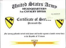 1st CAVALRY DIVISION VIETNAM SERVICE CERTIFICATE