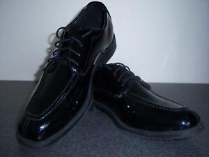 Mens Dress shoes Black faux patent leather square toe oxford - 9.5, 10 & 12
