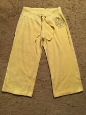 Bebe Cropped Terry Cloth Logo Capri/Lounge Pants...Yellow...Size Small