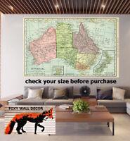 Painting vintage Art map Print Canvas Australia NSW NT QLD WA NSW ACT TAS NZ