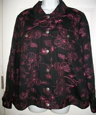 Silk Land Woman Black & Pink Embroidery Blazer Jacket Size 1X