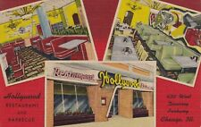 1952 Vintage LINEN Postcard~HOLLYWOOD Restaurant and Barbecue DINER~Chicago, IL