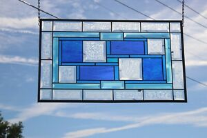 """Turquoise & Blue's Beveled Stained Glass Window Panel-Transom- 24 5/8 x14 1/2"""""""