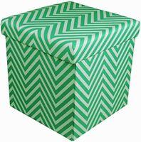 Sorbus Chevron Foldable/ Collapsible Storage Ottoman Cube (Chevron Green)