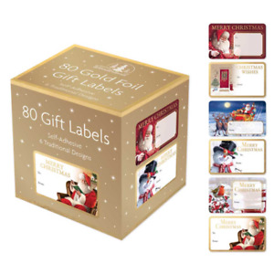 80 Gift Labels Gold Foil Self-Adhesive 6 Assorted Designs Christmas Greetings