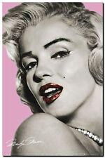 "Marilyn Monroe CANVAS ART PRINT poster pink lips 16""X 12"""