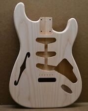MADE TO ORDER Semi Hollow S-Style Unfinished Guitar Body Ash Fits Strat Neck