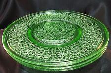 "Vintage Green Depression L.E. Smith ""Crackled"" 8"" Luncheon Salad Plate Set of 3"