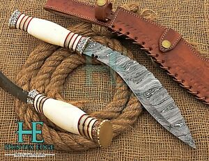 HUNTEX Custom Handmade Damascus 380 mm Roundscale Camel Bone Hunting Kukri Knife