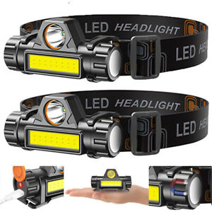 2 Pack USB Rechargeable Waterproof LED Headlamp Headlight Head Light Flashlight