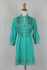 Gretty Zueger Turquoise Button Front Embroidered Tunic or Short Dress  XS