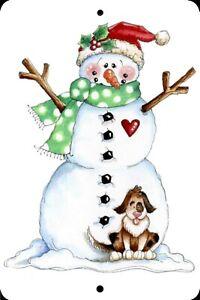 Happy Snowman, Little Dog, Christmas Home Sign, Home Decor Metal Aluminum, USA