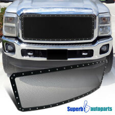 2011-2016 Ford F250 1PC Front Upper Main Grille Hood Grill Insert Rivet Black