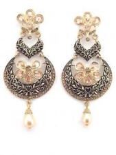 Gold and Black Large Earrings Pearl Drop CZ Stones Indian Bollywood Jewellery