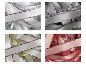 Silver Edged Ribbon Double Satin Berisfords  Widths 3mm 7mm and 15mm  4 Shades