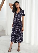 & Other Stories Navy Floral Midi Wrap Dress Size 36 (8-10)