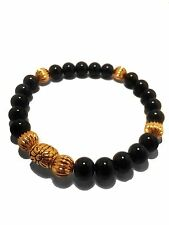 Exquisite Black and Gold Onyx Chrome King Baby Hearts GD G-Dragon Bracelet