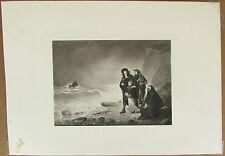 Edward Hammon Reseller Awaiting Passage Vintage etching B/W  Figures & Portrait
