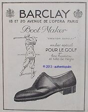 PUBLICITE BARCLAY BOOT MAKER SOULIER POUR LE GOLF EN TETE DE NEGRE DE 1924 AD