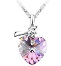 Heart of Ocean Amethyst Love Pendant Silver Necklace Geometry Diamante Gift P30
