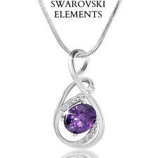 Collier chaîne pendentif larme VIOLET iswarovski® Elements plaqrué or blanc