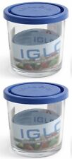 2X Borgonovo Igloo Glass Hermetic Food container BLUE LID POT 500ML