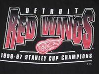 VTG Starter NHL Detroit Red Wings 1996-97 Stanley Cup Champions  Shirt XL Black