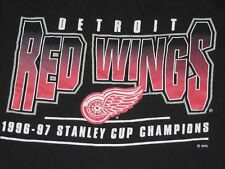 VTG Starter NHL Detroit Red Wings 1996-97 Stanley Cup Champions T Shirt XL Black