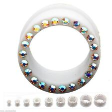 "PAIR-Flexi White w/Aurora Gems Double Flare Silicone Ear Tunnels 16mm/5/8"" Gauge"