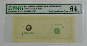 $20 FRN Philadelphia - Insufficient Inking Error 2nd Print - PMG Choice UNC 64