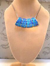 Sweeping Large BLUE Fire Opal Silver 925 Pendant SLIDE Omega Unisex chubbie