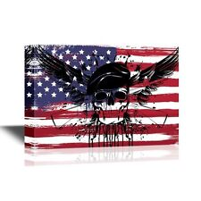 wall26 - Canvas Wall Art - Guns and Skull with US Flag Background - 16x24 inches