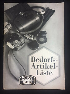 VINTAGE 1936 ZEISS IKON, ACCESSORY PRODUCTS CATALOG, GERMAN LANGUAGE BOOKLET
