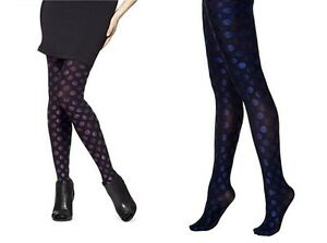 HUE Women's Tights Luster Dots Tight With Control Top Violetta, Indigo 1, 2, 3