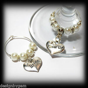 Beautiful Ivory/white wedding wine glass charms for top table or favours. decor