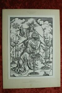 M-VII) Holzschnitt Albrecht Dürer EA 1896 Apokalypse 7 Leuchter Reichsdruckerei