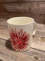 STARBUCKS Red Firework - 12 oz Mug Red Christmas Red Flower White MUG - 2014