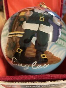 Philadelphia Eagles12inLarge  Glass Ornament Santa Christmas Ball Memory Co. New