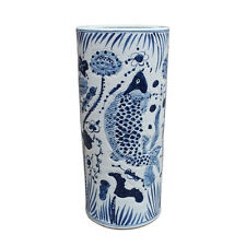 Blue and White Porcelain Fish Motif Umbrella Stand Vase 22""