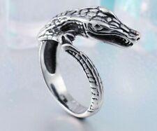 anello gioiello acciaio inox gotico coccodrillo lucertola uomo donna cosplay