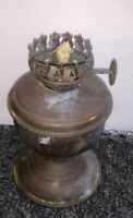 Antique Miniature Oil Kerosene Lamp As Is Copper Brass Color Oxidized