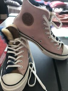 New With Box Mens Converse Fur Dyed Sheeps Wool Size 9 Hightop  Trainers