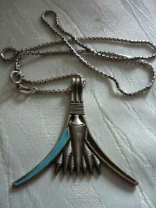 Indianerschmuck, Halskette mit Anhänger, 925 Silber, türkis