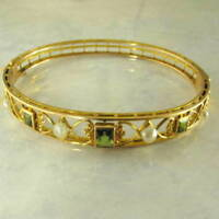 VINTAGE 14K YELLOW GOLD OVER PERIDOT & PEARL VICTORIAN BANGLE BRACELET